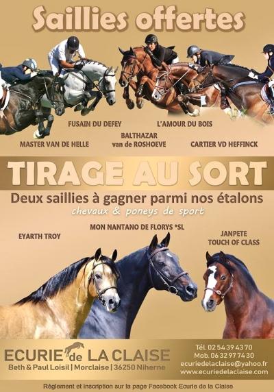 TIRAGE au SORT* 2 SAILLIES GRATUITE*   Règlement et Inscription sur la page Facebook Ecurie de la Claise
