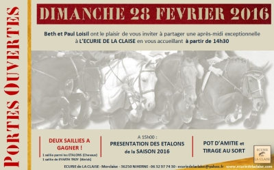 PORTES OUVERTES 28 FEVRIER à L'ECURIE de LA CLAISE!!!!
